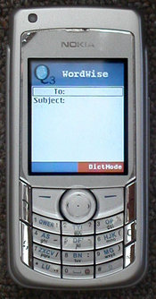 A Nokia 6682 with the EQ3 keypad, running EQ3 emailTool.